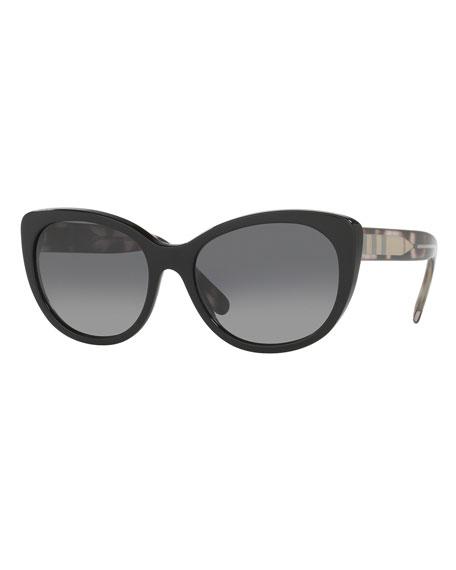 Burberry Check-Trim Polarized Cat-Eye Sunglasses, Black