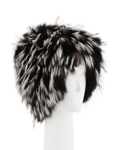 Narcissa Fox Fur Cap, Black/Silver