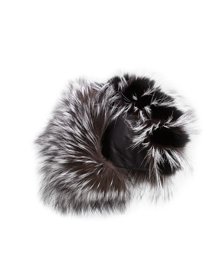 Myra Leather & Fox Fur Trapper Hat, Black