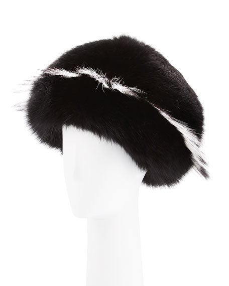 Freja Fox-Fur Cap, Black