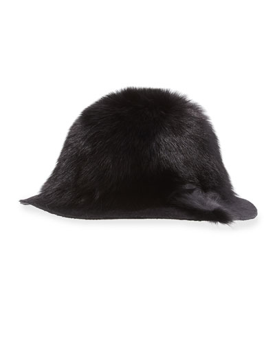 Arden Fox-Fur Wide-Brim Hat, Black