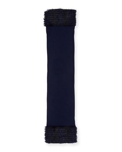 Cashmere Fox-Fur Scarf, Navy