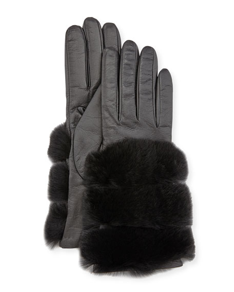 Gala Gloves Leather Banded-Fur Gloves, Black