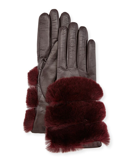 Leather Banded-Fur Gloves, Burgundy/Chianti