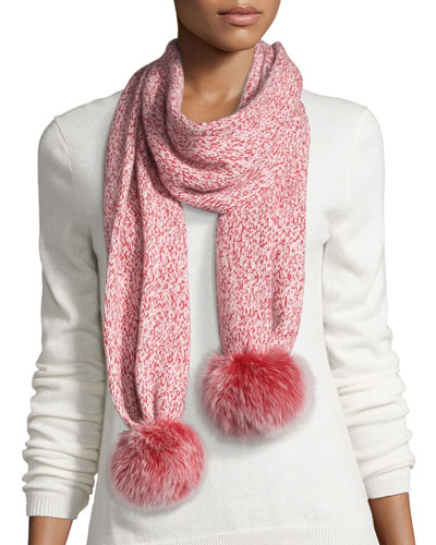 Marled Cashmere Fur Pompom Scarf, Red