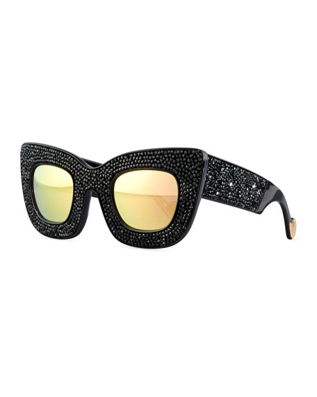 Wonderland Stories Swarovski® Cat-Eye Sunglasses, Black Crystal