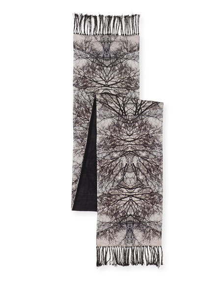 Bogart Grey Silk Tree Scarf, Ivory