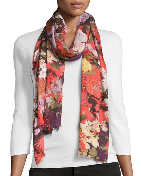 Demi Floral Voile Scarf, Red