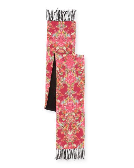 Edna Floral Silk Tassel Scarf, Pink