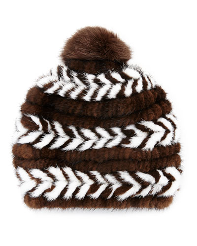 Mink Fur Beanie Hat, Brown/White