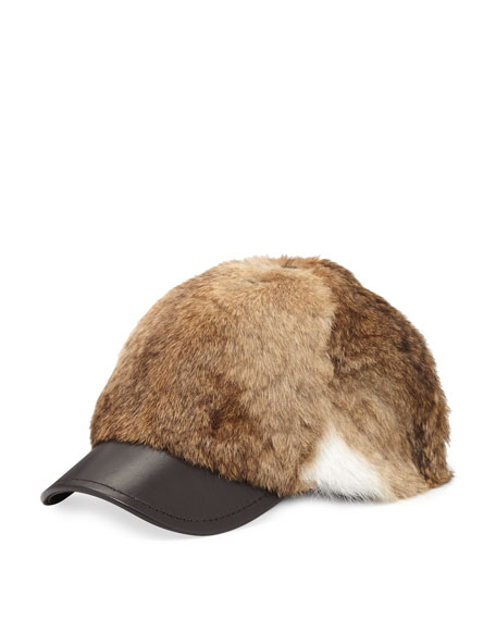 Adrienne Landau Goma Rabbit Baseball Cap, Natural Brown