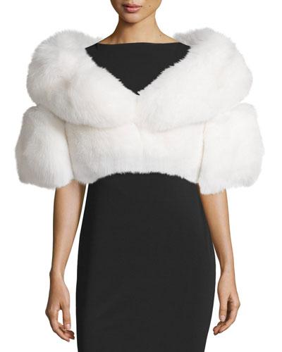 Boxy Fox Fur Glamour Stole, White