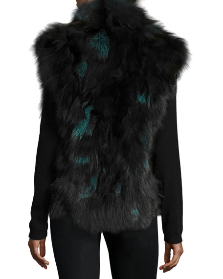 Fox Fur Vest, Teal/Black