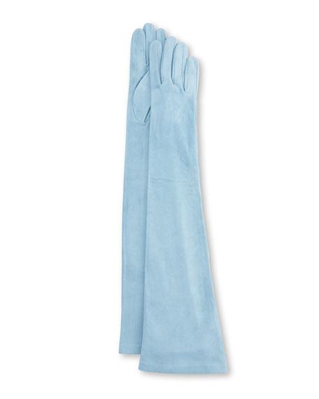 Long Suede Gloves, Blue