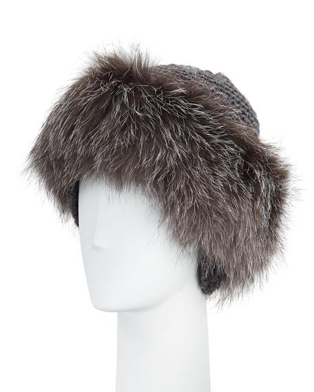 Cashmere & Fox Fur Beanie, Charcoal/Silver