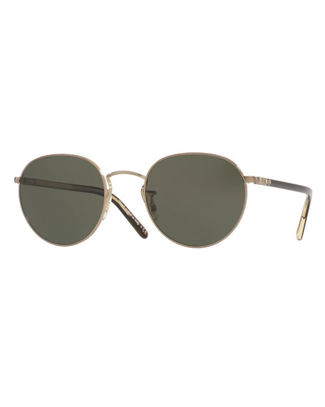 Oliver Peoples Hassett Monochromatic Round Sunglasses, Gold