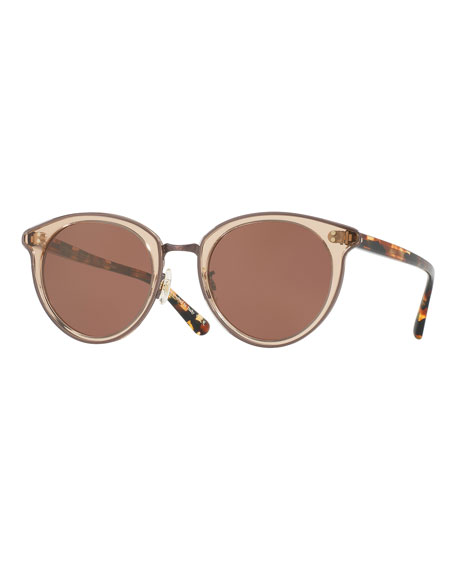 Oliver Peoples Spelman Square Floating-Lens Sunglasses, Pink/Brown