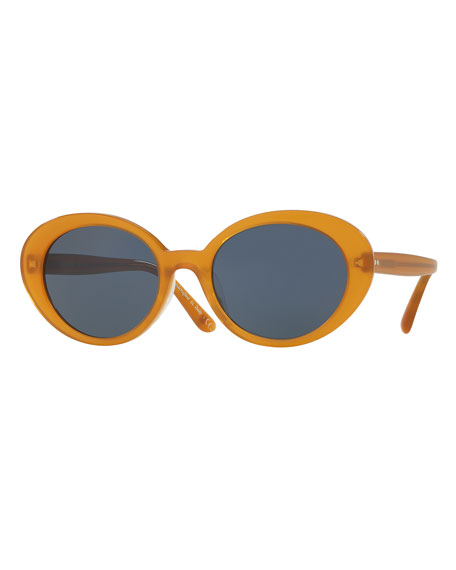 Parquet Monochromatic Oval Sunglasses, Yellow/Blue