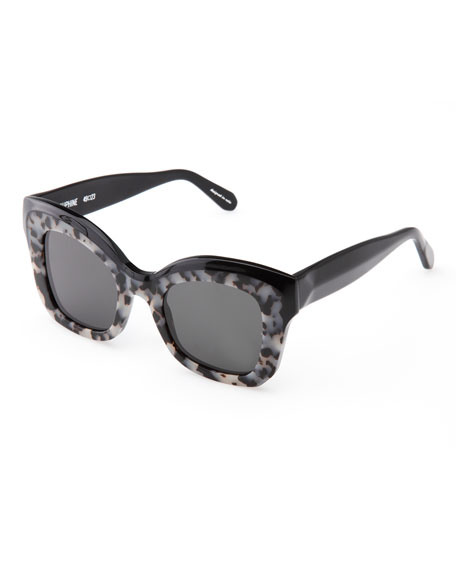 Dauphine Flat-Lens Sunglasses, Black/Gray