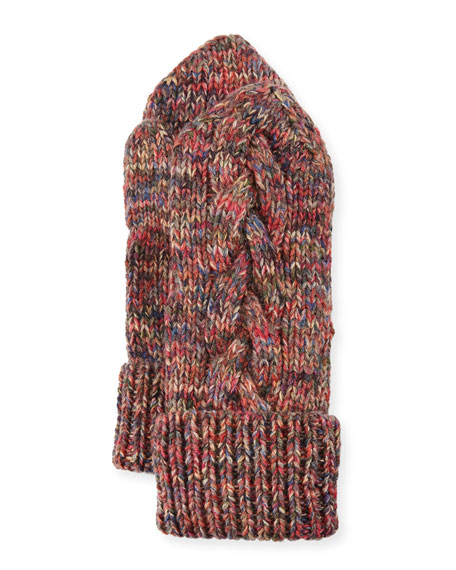 Il Borgo Braided-Trim Cashmere Mittens, Multicolor
