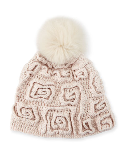 Greek Key Cashmere Pompom Beanie Hat, Beige
