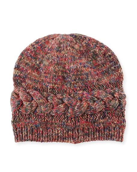 Il Borgo Braided-Trim Cashmere Beanie Hat, Multicolor