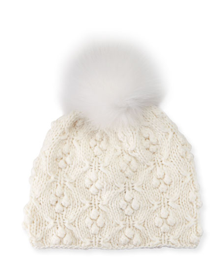 Patterned Cashmere Pompom Beanie Hat, White