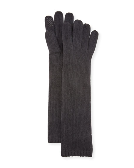 Portolano Long Cashmere Smart Gloves, Black