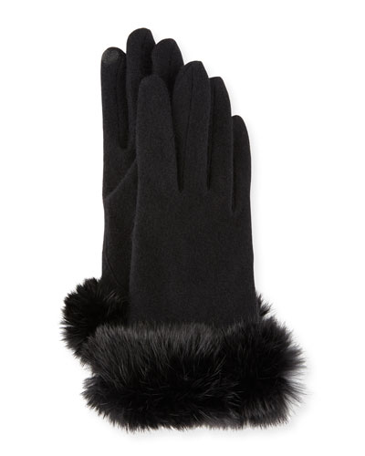 Wool-Blend Tech Gloves w/ Rabbit Fur, Black