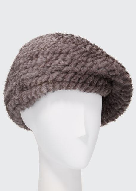 Structured Mink Fur Beret Hat, Brown