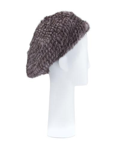 Structured Mink Fur Beret Hat, Blue