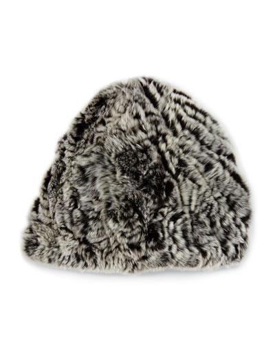 Knit Rabbit Fur Beanie Hat, Brown