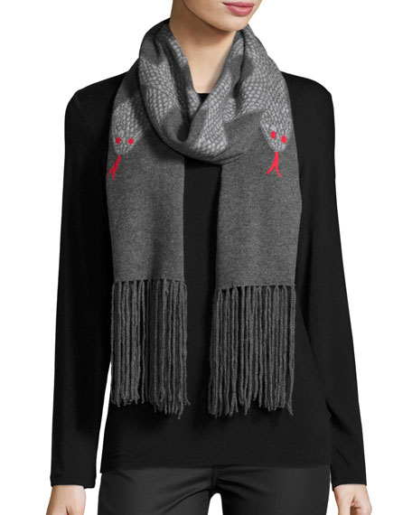 Snakes Wool-Blend Fringe Scarf, Gray/Red