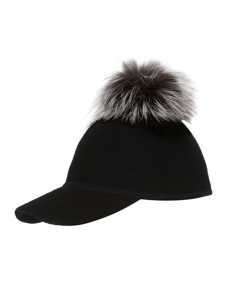 Sass Single-Pom Wool Felt Baseball Cap, Silver/Black
