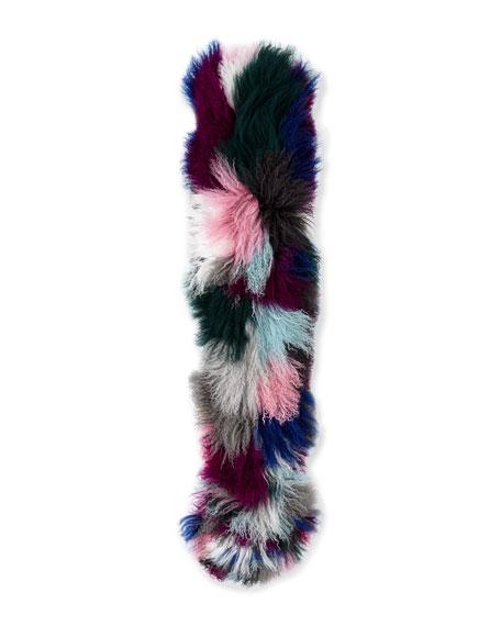 Kaleidoscope Fur Cuff Scarf, Multicolor
