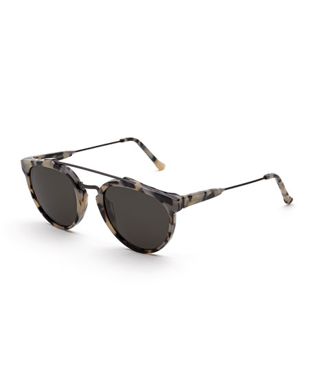 Giaguaro Puma Round Sunglasses, White Tortoise