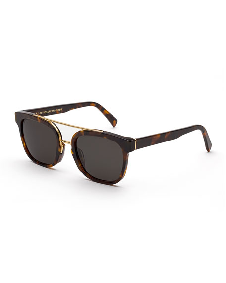 Akin Square Brow-Bar Sunglasses, Havana