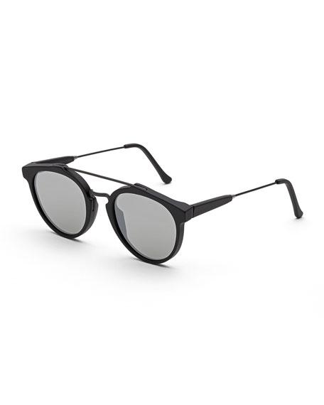 Giaguaro Mirrored Double-Bridge Sunglasses, Black Matte