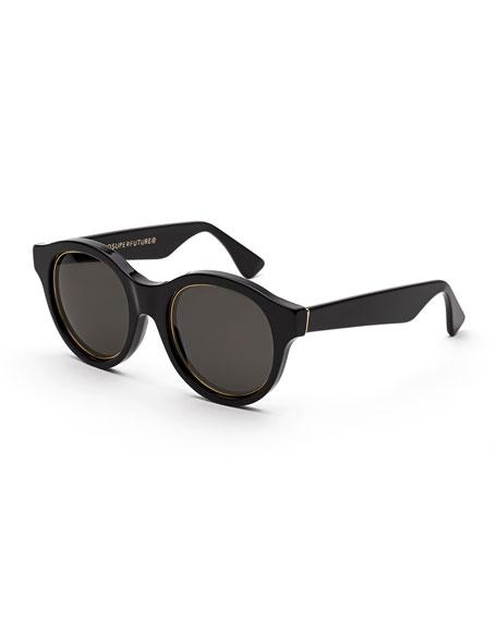 Mona Impero Trimmed Round Sunglasses, Black