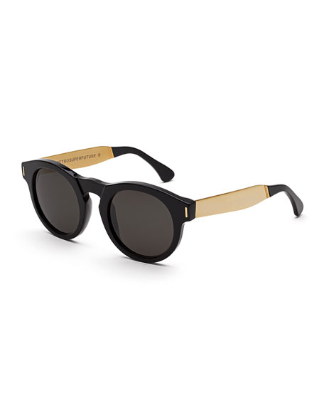 Super by Retrosuperfuture Boy Round Sunglasses, Black/Gold