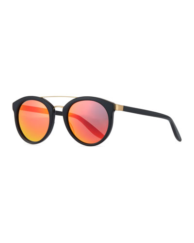 Dalziel Round Iridescent Sunglasses, Black/Inferno Red