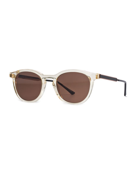 Boundary Transparent Round Sunglasses, Champagne
