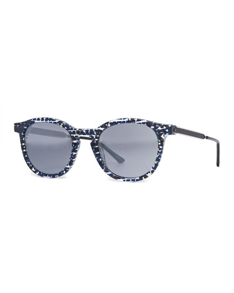 Thierry Lasry BOUNDARY ABSTRACT ROUND SUNGLASSES, BLUE