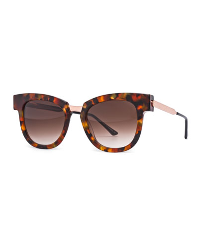 Mondanity Notched Butterfly Sunglasses, Havana