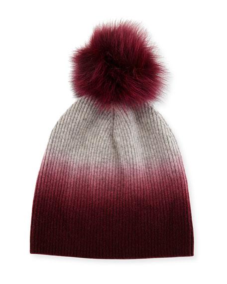 d7e3b61361c Sofia Cashmere Ribbed Dip-Dyed Cashmere Beanie Hat