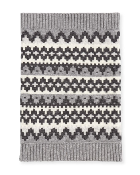 Sofia Cashmere Geometric Fair Isle Cashmere Snood, Gray/White