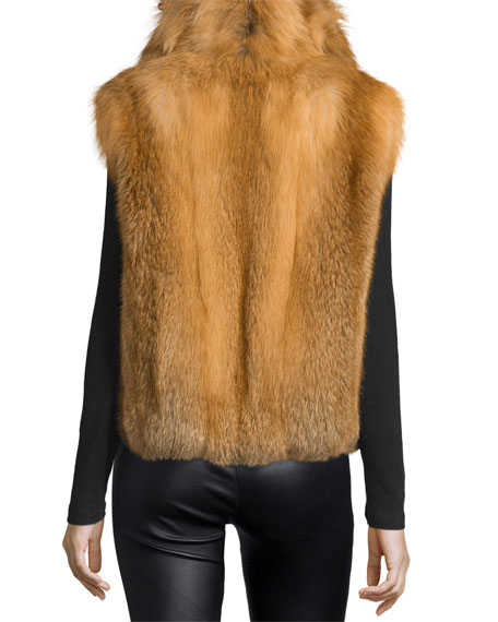 Open-Front Red Fox Fur Vest