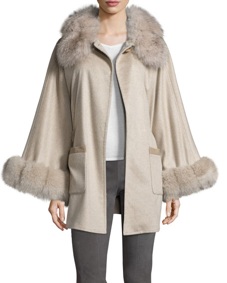 Belted Fox Fur-Trim Cashmere Cape, Taupe