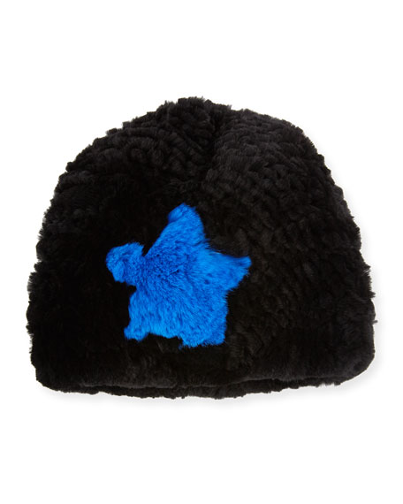 Star Rabbit Fur Beanie, Black/Blue