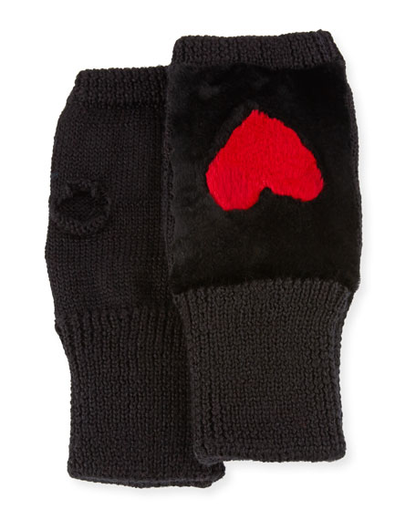 Knit Heart Fingerless Gloves